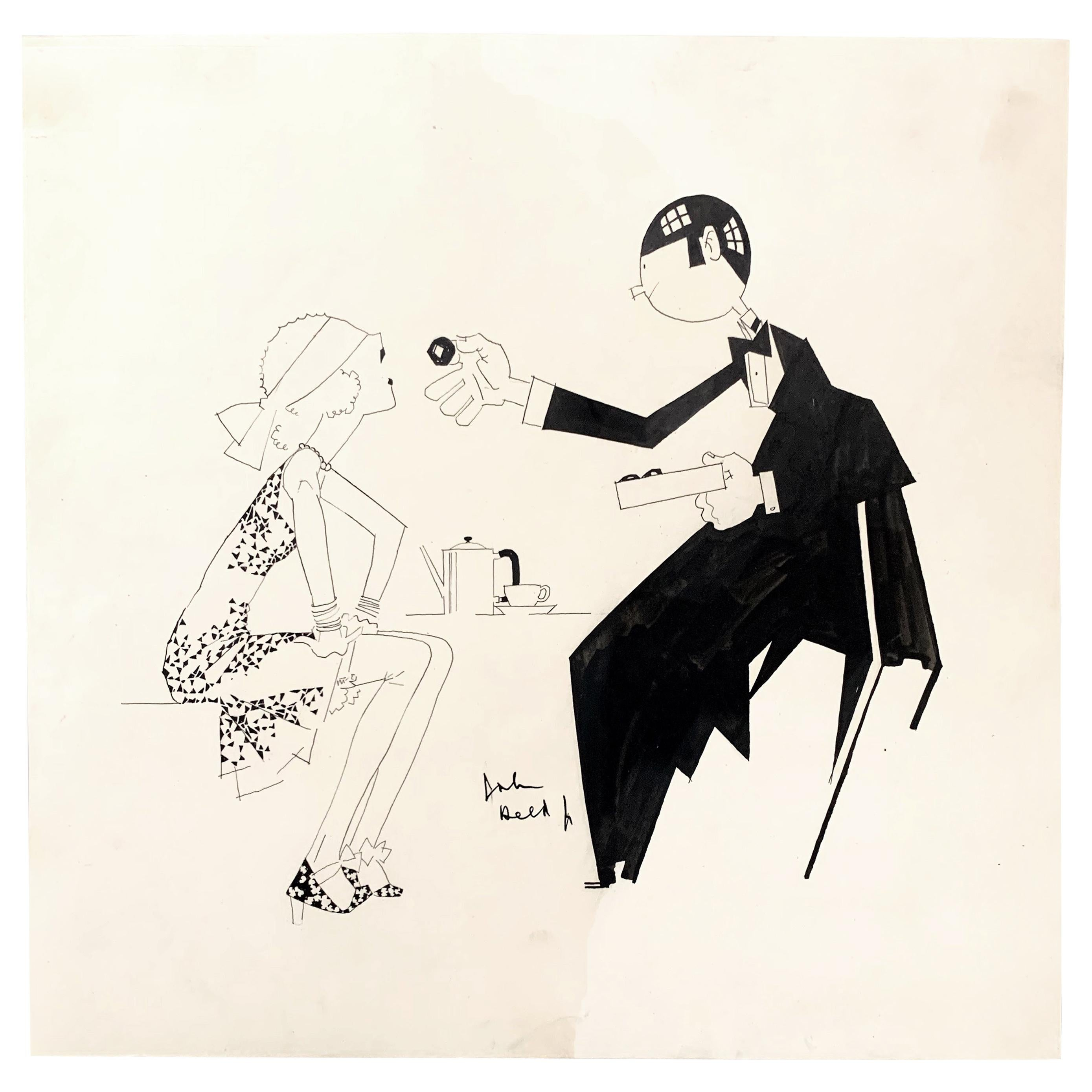 """""""Sampling Chocolates,"""" Quintessential Art Deco Drawing with Blindfolded Flapper"""