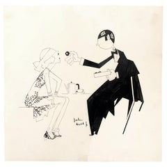 """Sampling Chocolates,"" Quintessential Art Deco Drawing with Blindfolded Flapper"