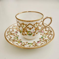 Sampson Bridgwood Cup and Saucer, Raised Gilt, Victorian ca 1860