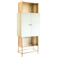 Samsara Luxury Artisanal Cabinet, Metal Structure and Shelves, Made in Italy