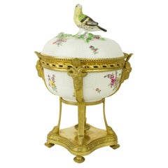 Samson Paris 19th Century Meissen Inspired Porcelain Bronze Mount Bowl and Cover