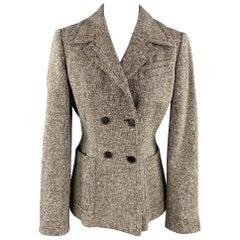 SAMSONITE Size 8 Brown / White Tweed Wool Blend Jacket
