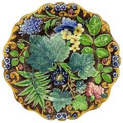 Samuel Alcock Majolica Botanical Plate, English, circa 1875
