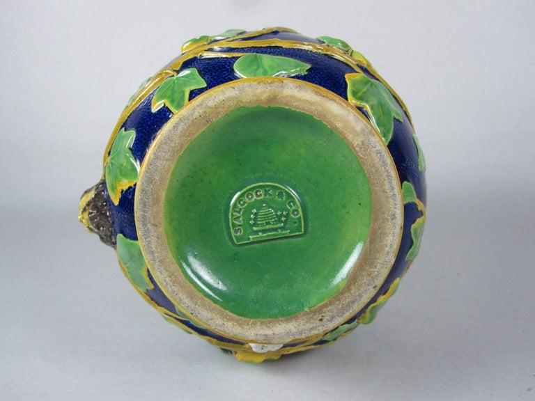 Samuel Alcock Mask & Ivy Cobalt Blue & Green Majolica Pitcher, England, 1875 For Sale 2