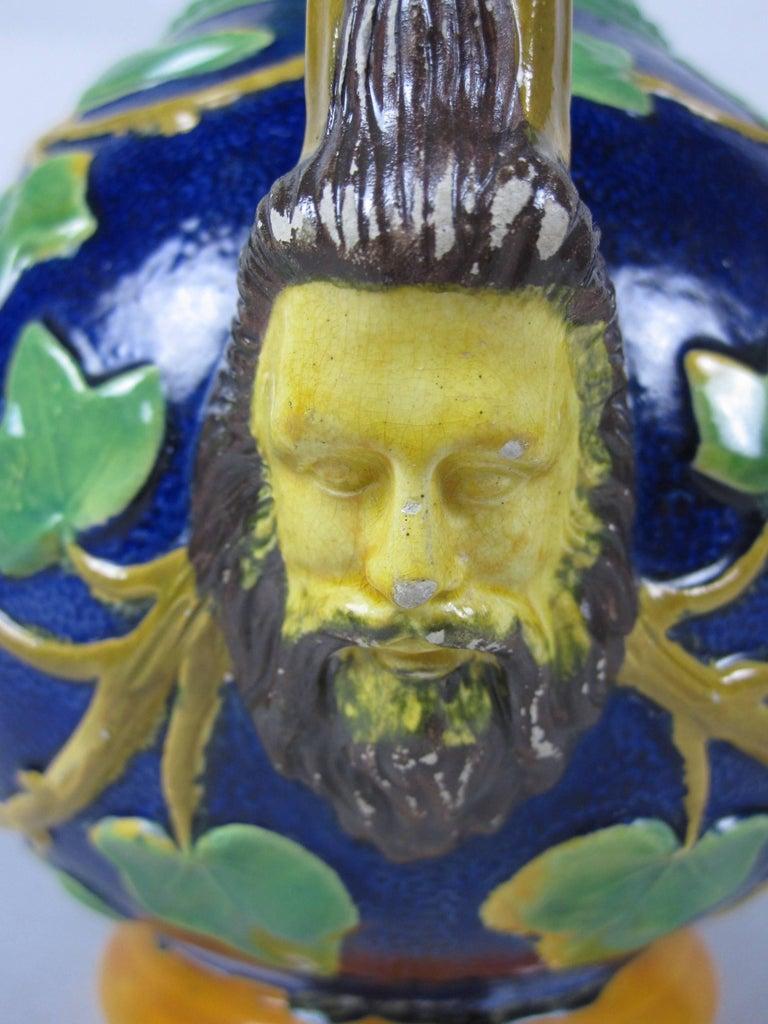 Aesthetic Movement Samuel Alcock Mask & Ivy Cobalt Blue & Green Majolica Pitcher, England, 1875 For Sale