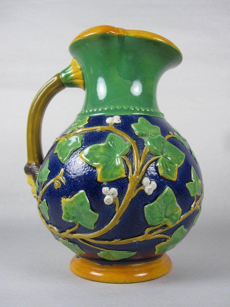 English Samuel Alcock Mask & Ivy Cobalt Blue & Green Majolica Pitcher, England, 1875 For Sale