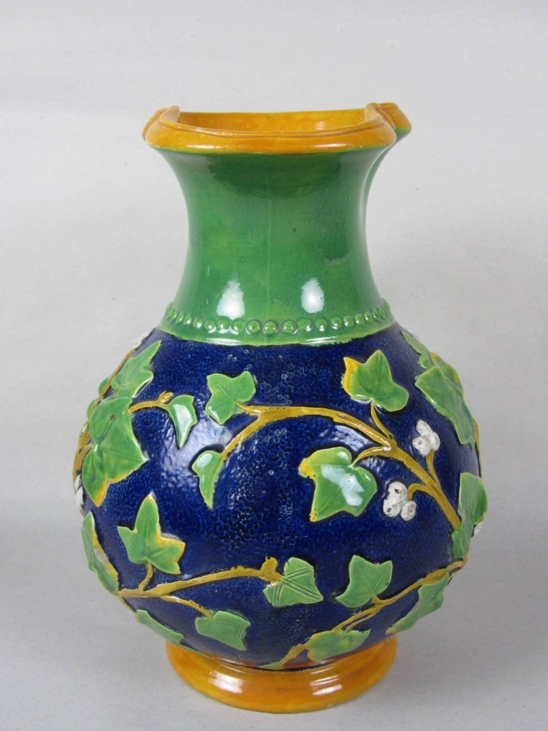 Samuel Alcock Mask & Ivy Cobalt Blue & Green Majolica Pitcher, England, 1875 In Good Condition For Sale In Philadelphia, PA