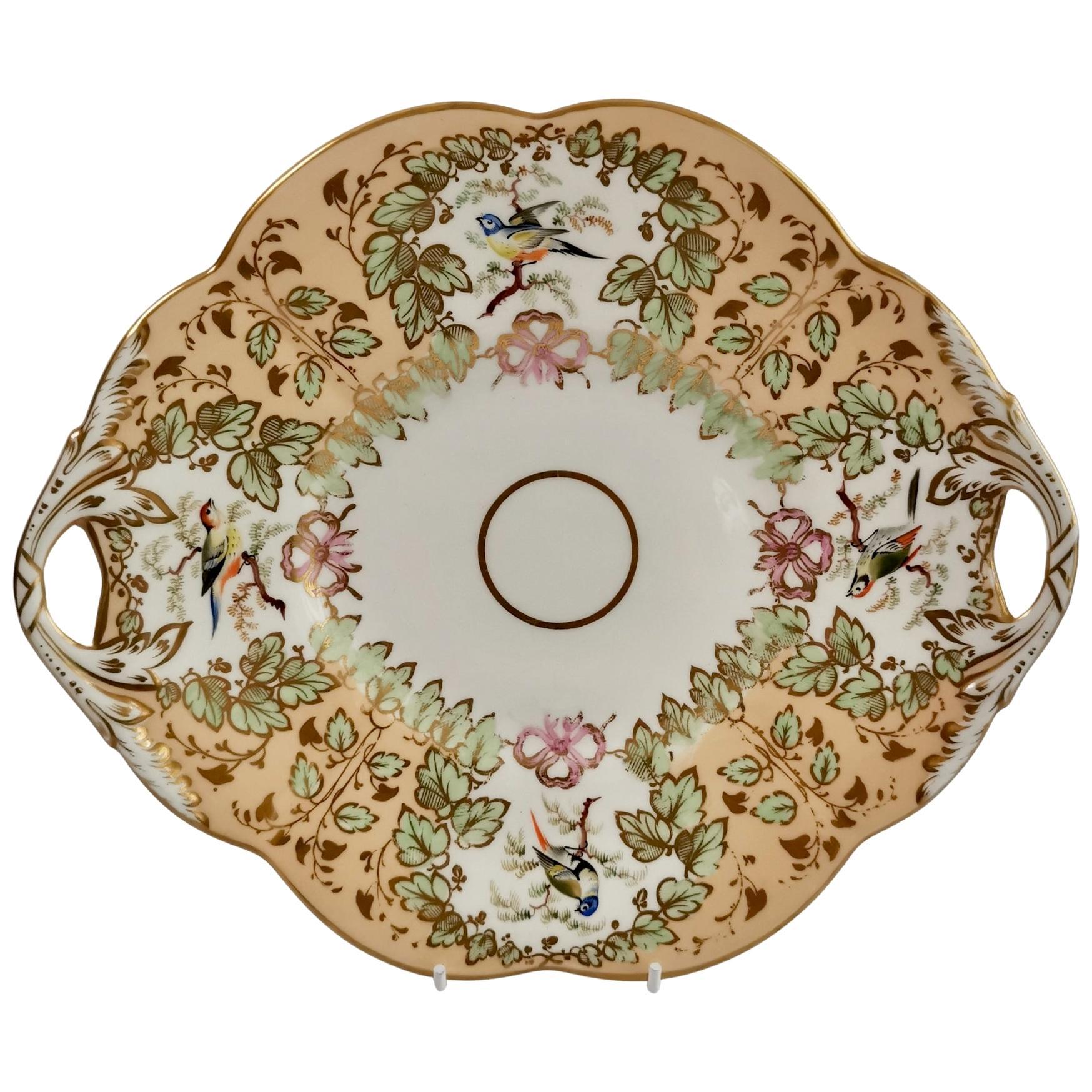 Samuel Alcock Porcelain Cake Plate, Peach Ground with Fine Birds, Victorian 1845