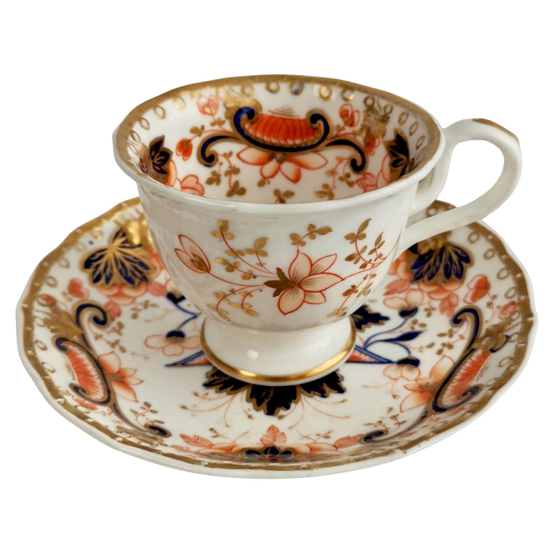 Samuel Alcock Porcelain Coffee Cup, Orange Imari Flowers, Rococo Revival ca 1830