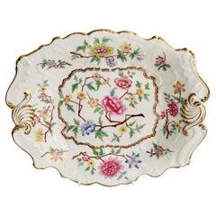 Samuel Alcock Porcelain Dish, Chinoiserie Flowers, Rococo Revival ca 1828