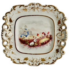 Samuel Alcock Porcelain Dish with Flowers, Provenance Godden, Regency circa 1820