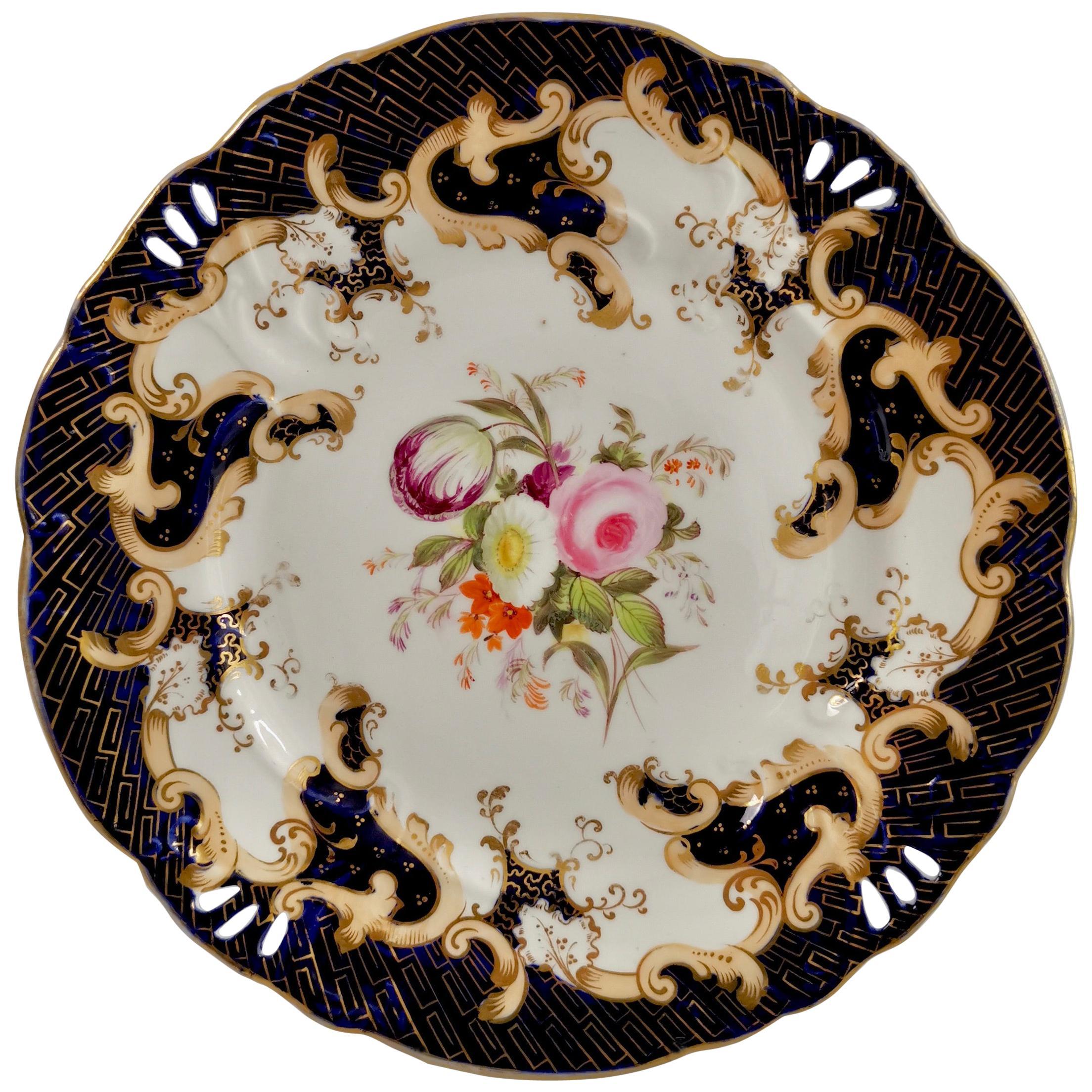 Samuel Alcock Porcelain Plate, Cobalt Blue, Flowers, Rococo Revival ca 1845 '1'