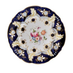 Samuel Alcock Porcelain Plate, Cobalt Blue, Flowers, Rococo Revival, ca 1845
