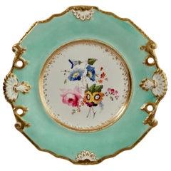 Samuel Alcock Porcelain Plate, Flowers on Duck Egg Blue, Regency, circa 1820