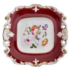 Samuel Alcock Porcelain Plate, Maroon with Flowers, Regency, ca 1825