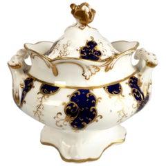 Samuel Alcock Porcelain Sucrier, Cobalt Blue and Gilt, Rococo Revival circa 1840