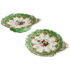 Samuel Alcock Set of 2 Porcelain Comports, Green with Flowers, Victorian ca 1835