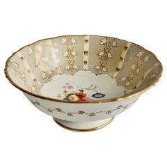 Samuel Alcock Slop Bowl, Grey Striped with Flower Rococo Revival, circa 1845