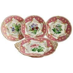 Samuel Alcock Small Porcelain Dessert Set, Pink with Flowers, Victorian 1854