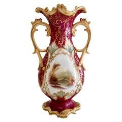 Samuel Alcock Porcelain Vase, Maroon with Landscapes, Rococo Revival, ca 1840