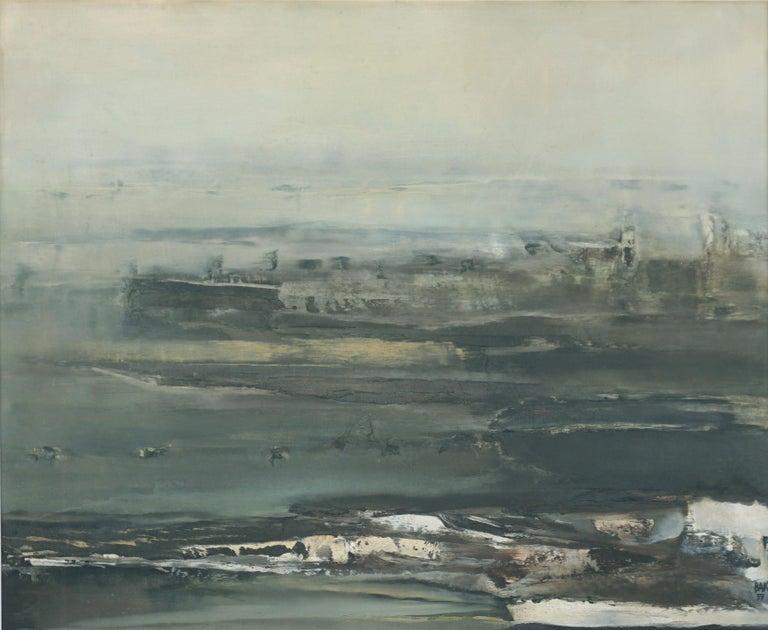 Mid Century Roman Landscape - Vista Sull Altra Riva  - Painting by Samuel Bak