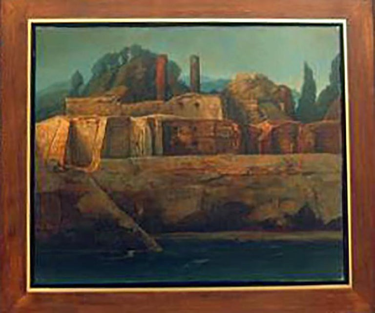 SAMUEL BAK b. 1933 Born in Vilna, Poland 1933 (Israeli/American)   Title: Surrealistic Landscape  Technique: Original Signed Oil Painting on canvas  size: 46 x 55 cm / 18.1 x 21.7 in  Additional Information: The work is hand signed by the