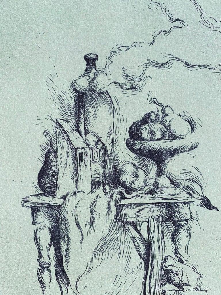 Samuel Bak Surrealist Etching Israeli Bezalel Artist