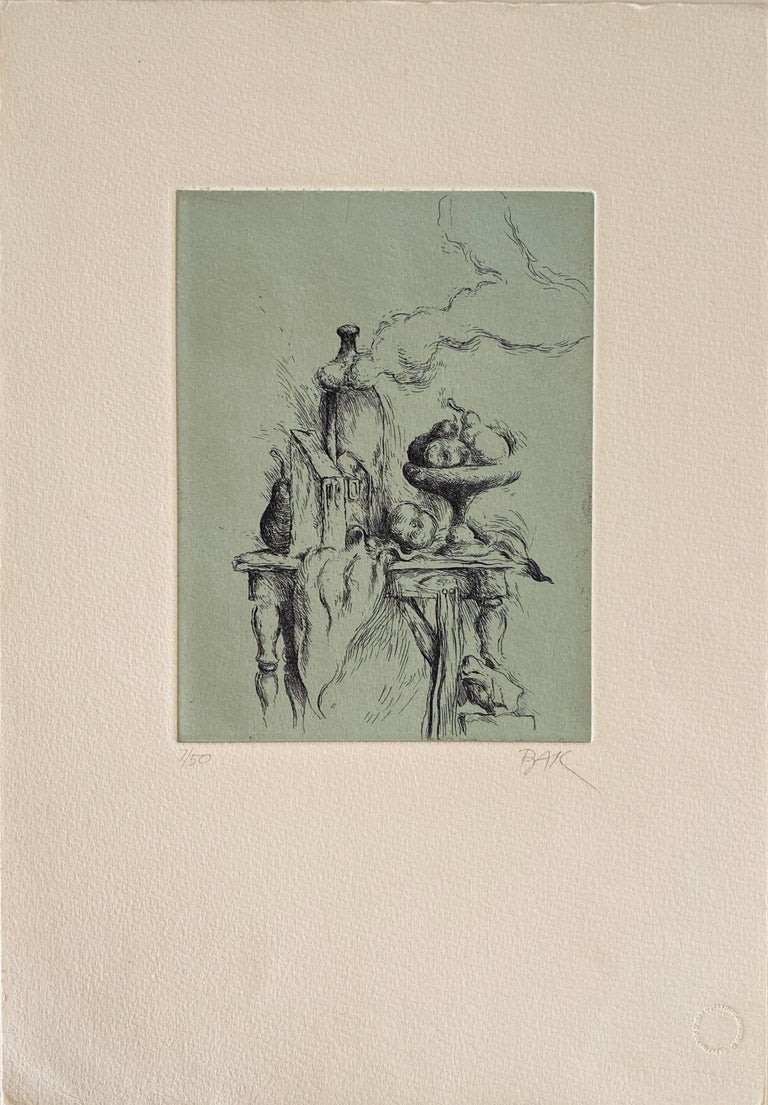 """HIDDEN PEAR, color etching, signed in pencil, numbered 7/50, Jerusalem Print workshop blind stamp, image 7 ½ x 5 ½"""", sheet 15 x 10 ¼"""".   Samuel Bak (born 12 August 1933) is a Polish- American painter and writer who survived the Holocaust and"""