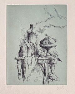 "Samuel Bak Surrealist Etching Israeli Bezalel Artist ""Hidden Pear"", Fruit Bowl"