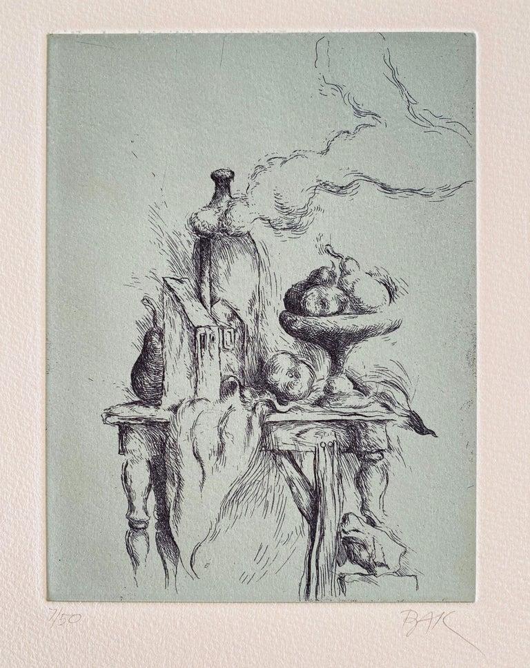 "Samuel Bak Surrealist Etching Israeli Bezalel Artist ""Hidden Pear"", Fruit Bowl - Print by Samuel Bak"
