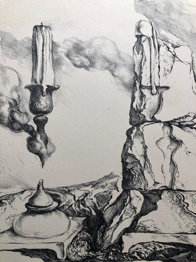 Samuel Bak Surrealist Lithograph Israeli Bezalel Artist Judaica Candlesticks For Sale 1