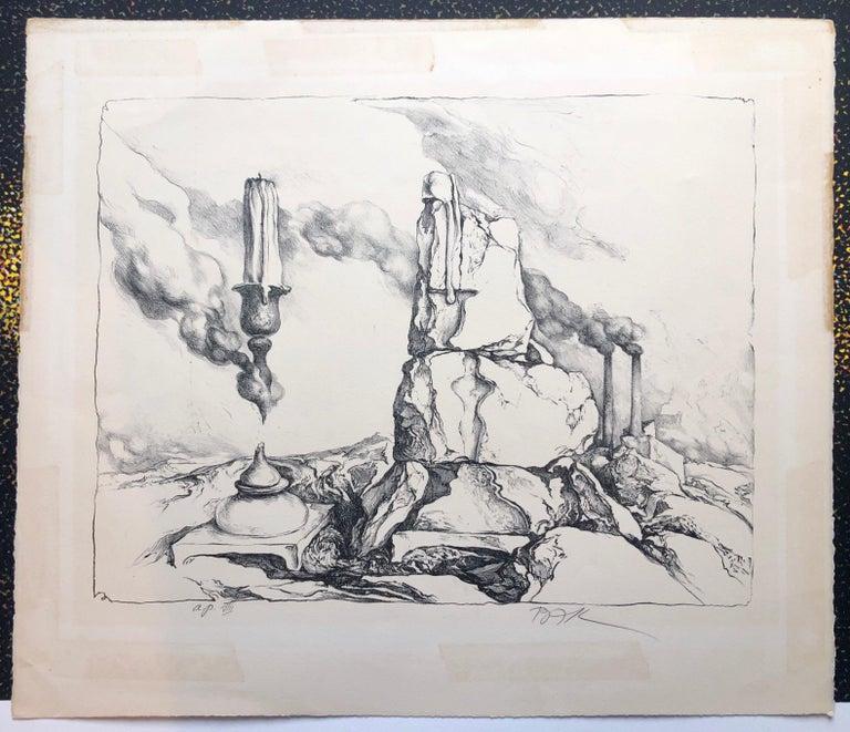 Samuel Bak Surrealist Lithograph Israeli Bezalel Artist Judaica Candlesticks For Sale 3