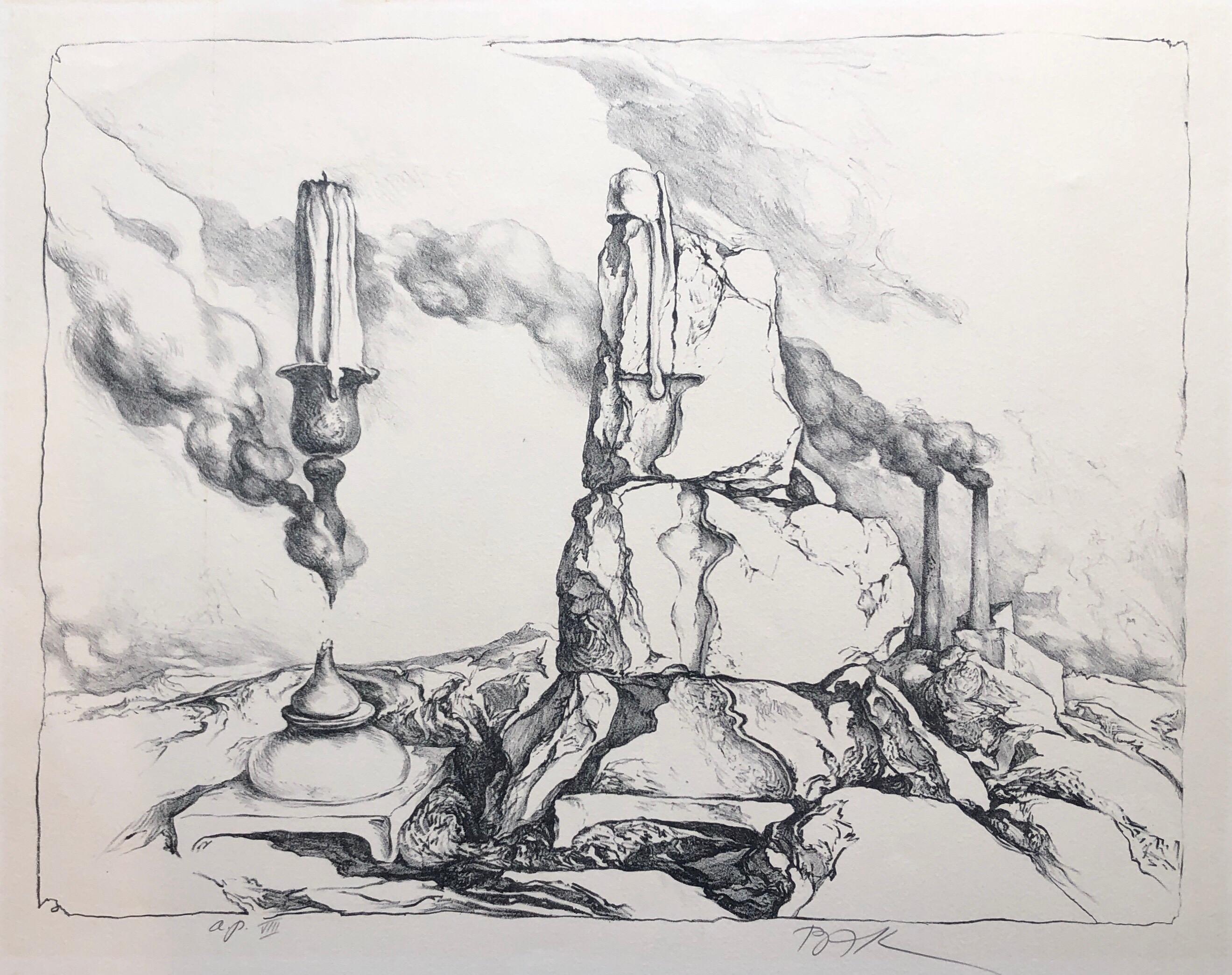 Samuel Bak Surrealist Lithograph Israeli Bezalel Artist Judaica Candlesticks