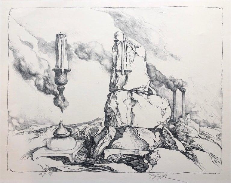 Samuel Bak Surrealist Lithograph Israeli Bezalel Artist Judaica Candlesticks - Print by Samuel Bak