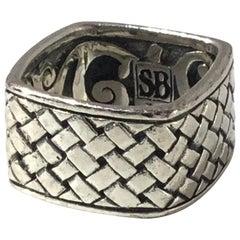 Samuel Benham BJC Sterling Silver Basketweave Square Ring
