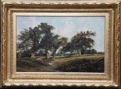 Cadzow Forest Scotland - British mid 19thC art Scottish landscape oil painting