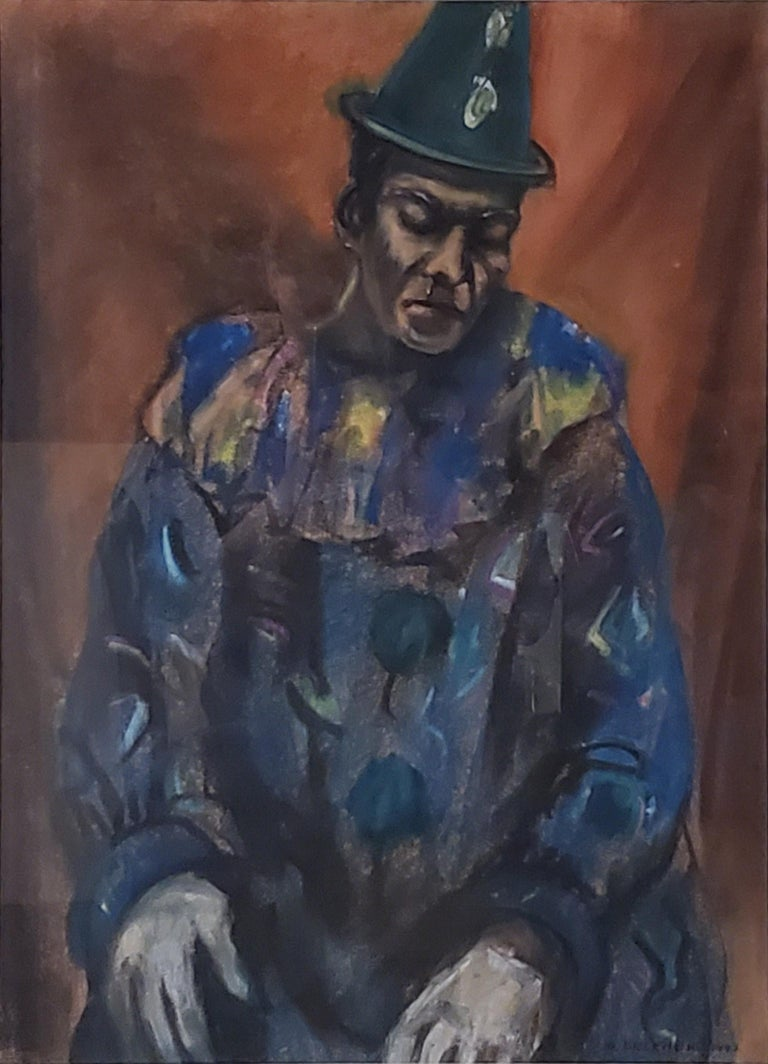 Pastel Portrait of a Circus Clown  Samuel Brecher, American, (1897 - 1982)  This portrait of a clown is pastel on paper, is fully signed by Samuel Brecher and dated 1943.   This pastel painting of a clown measures 21.5 inches tall by 15.5 inches