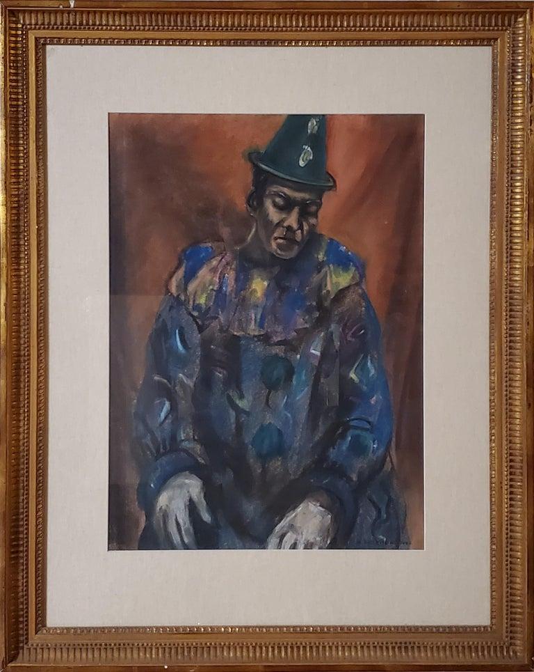 Pastel Portrait of a Circus Clown - Art by Samuel Brecher