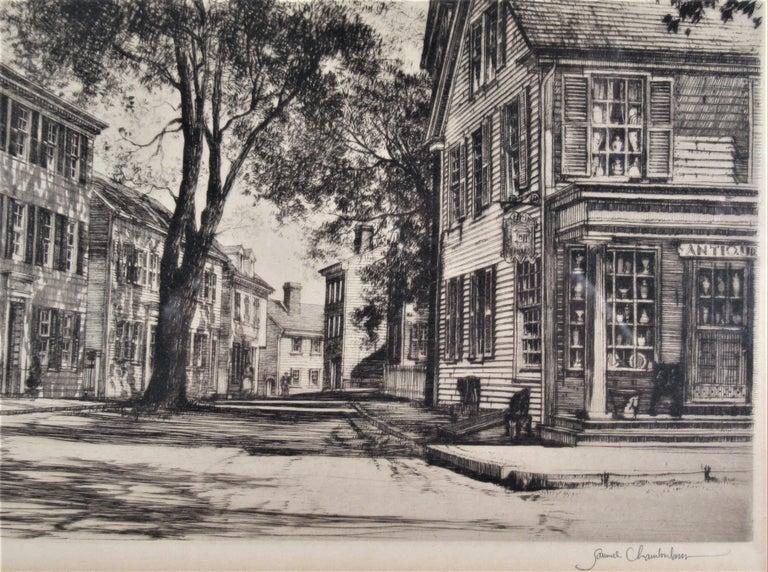 Street Scene - Beige Figurative Print by Samuel Chamberlain