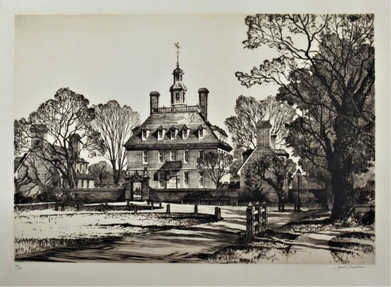 Samuel Chamberlain Figurative Print - The Governor Palace, Williamsburg Serie