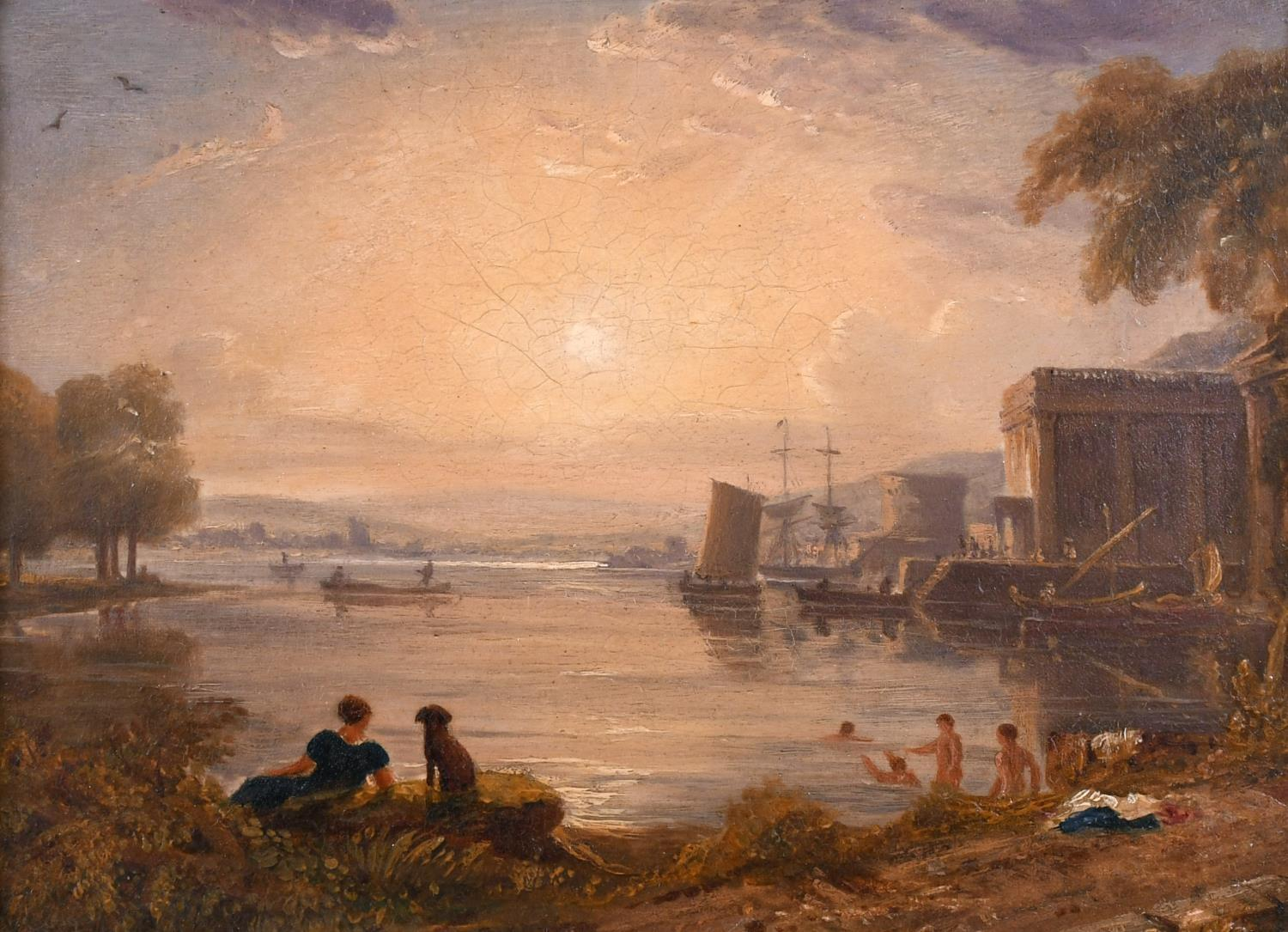 19th CENTURY ENGLISH OIL PAINTING - BATHERS CLASSICAL PORT LANDSCAPE AT SUNSET