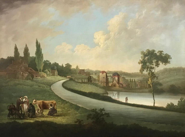 Samuel Colman (19th Century) A view of Bullpitts, Bourton and the Hindley factory with the Longpond and Factory pond signed and inscribed oil on canvas 73.7 x 101.6 cm (29 x 40 in) 36 x 46 in - including frame  Daniel Maggs' flax mill on the River