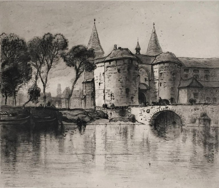 Samuel Colman Landscape Print - [Le Pont de Gand, Bruges.]