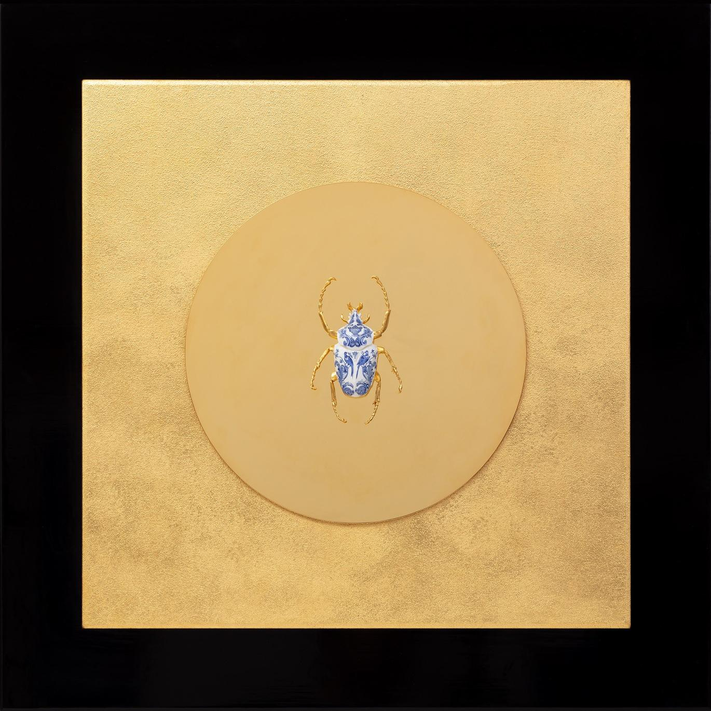 Goliath Beetle Closed - 21st Century, Contemporary, Figurative, Gold Leaf