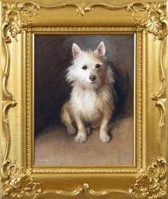 Genre animal oil painting of a West Highland Terrier dog