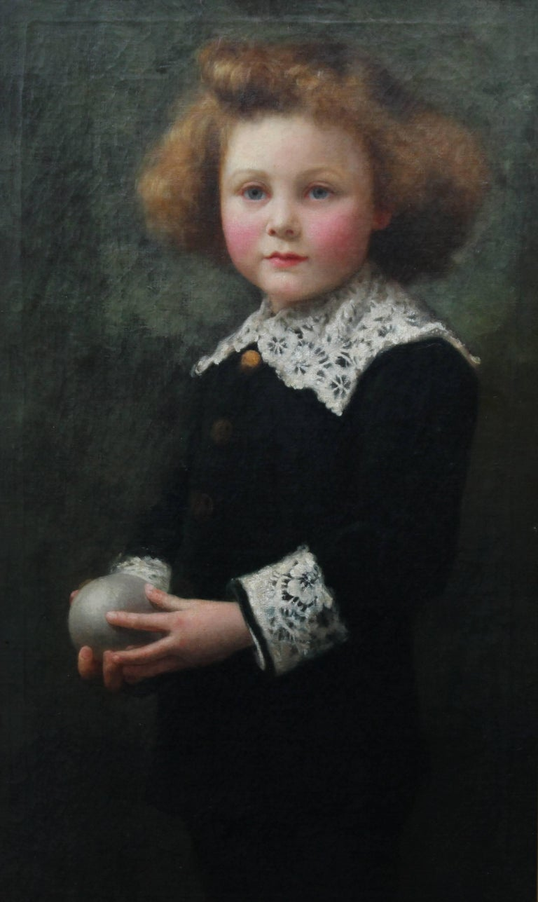 Portrait of a Boy Playing Ball - British Victorian sporting art oil painting For Sale 1