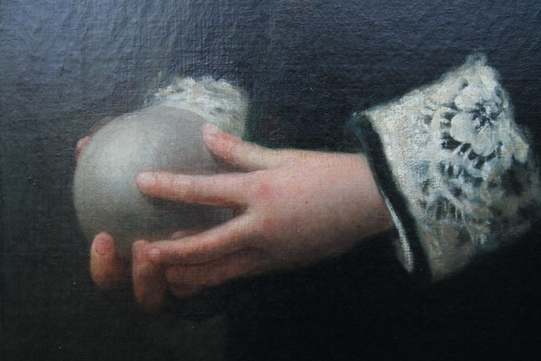 Portrait of a Boy Playing Ball - British Victorian sporting art oil painting For Sale 3
