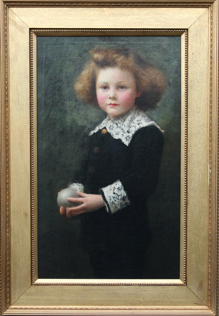Portrait of a Boy Playing Ball - British Victorian sporting art oil painting For Sale 7