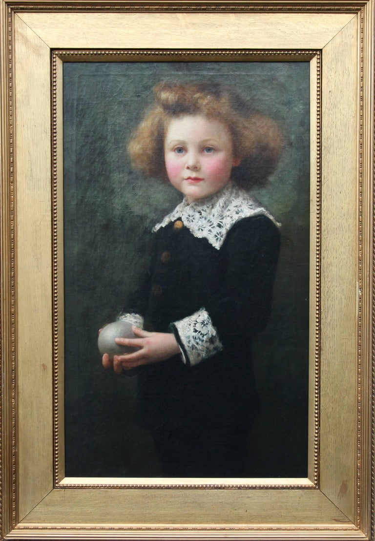 A fine, large genre Victorian oil on canvas by Samuel G Enderby. The painting depicts a young boy with his ball. A superb circa 1880 oil painting in a gilded oak slip and outer surround. It is signed and dated lower right under the frame on the edge