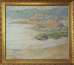 Research Center in Maine, American Impressionist Landscape, Oil on Board, 1930's
